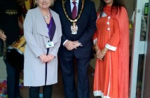 Wokingham Borough Mayor John Kaiser with Head of Services Julia Harris (left) and Ethnic Minority Development Worker Nighat Ellahi
